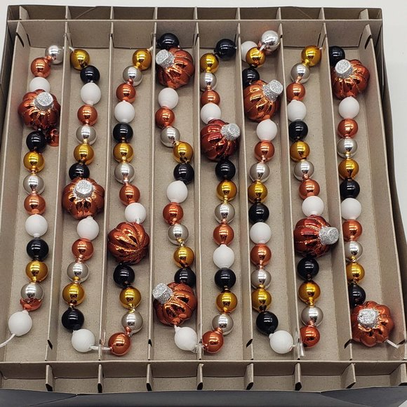RADKO Shiny Brite Halloween Pumpkin GLASS GARLAND 7ft